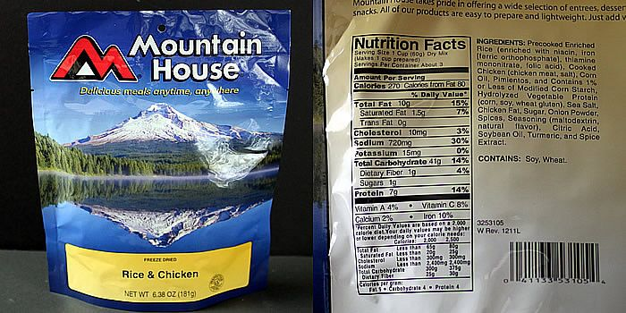 Freeze Dried Backpacking Meal