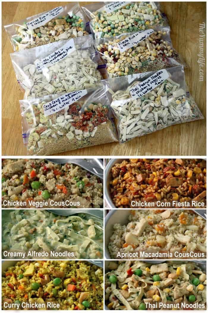 6 Instant Meals-On-The-Go. Just add boiling water. For backpacking, camping, dorms, office, travel, and emergencies. From TheYummyLife.com