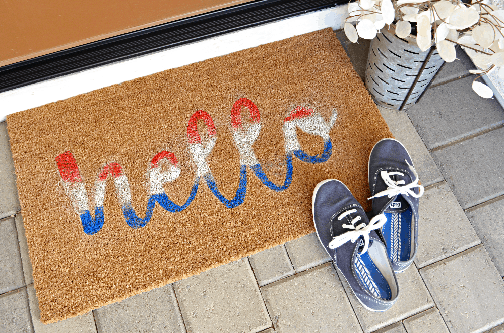 DIY Red, White and Blue Hello Doormat