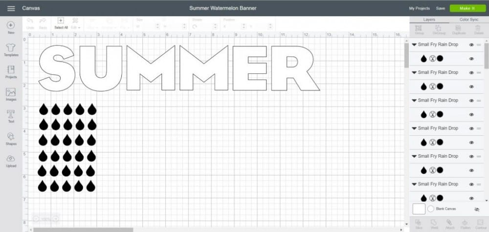 Summer Watermelon Banner File in Cricut Design Space