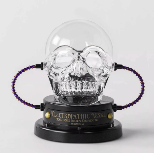 An image of a clear skull with tubes coming out of it.