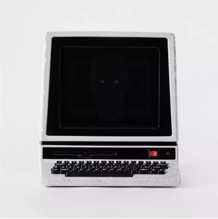 Animated LED Computer with Skull Decorative Halloween Prop