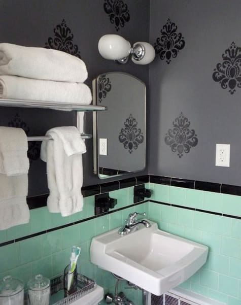 image above: Mint and black reminds us of throwback Halloween hard candy. The black, baroque detail is a stylish way to add some spook.