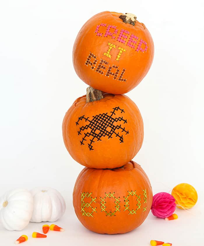 2020 Halloween DIY: Cross-Stitch Pumpkins