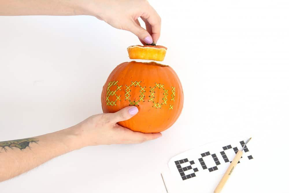 Halloween DIY: Cross Stitch Pumpkin