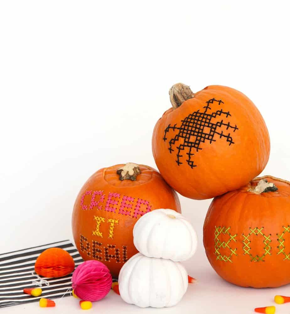 Halloween DIY: Cross Stitch Pumpkins