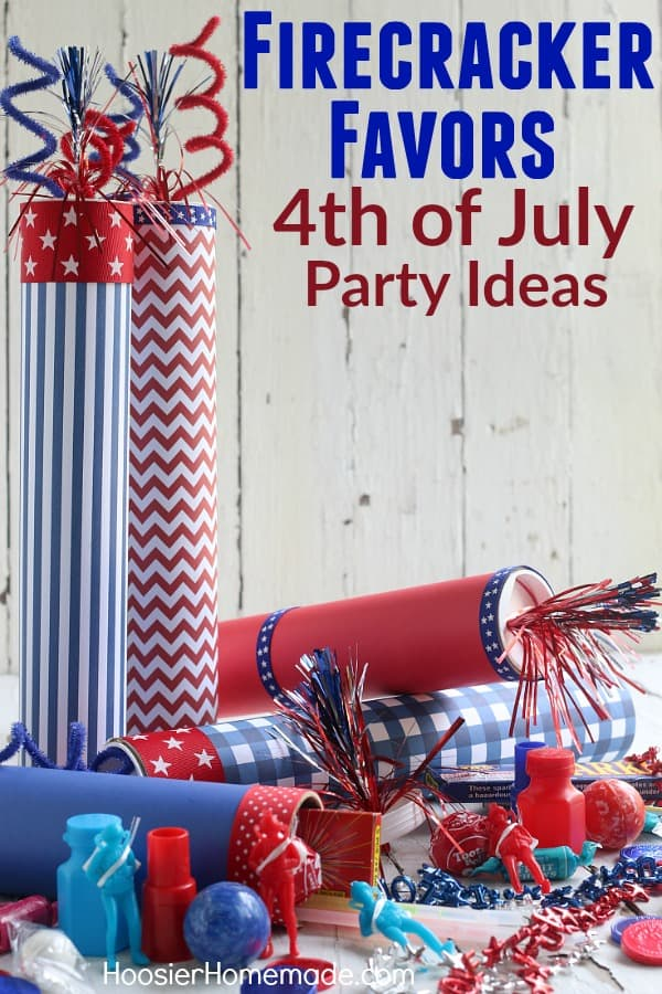 4th of July Party Ideas -- these SUPER fun Firecracker Favors are really easy to make! The kids can help too! Fill them with small toys, candy, glow sticks and more for a fun 4th of July Party Idea!