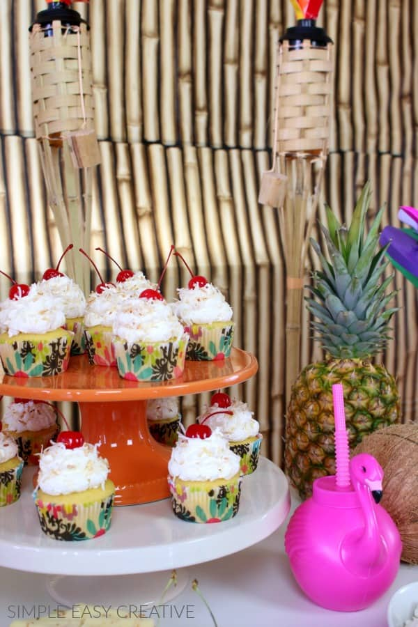 Pina Colada Cupcakes for Luau Party Ideas