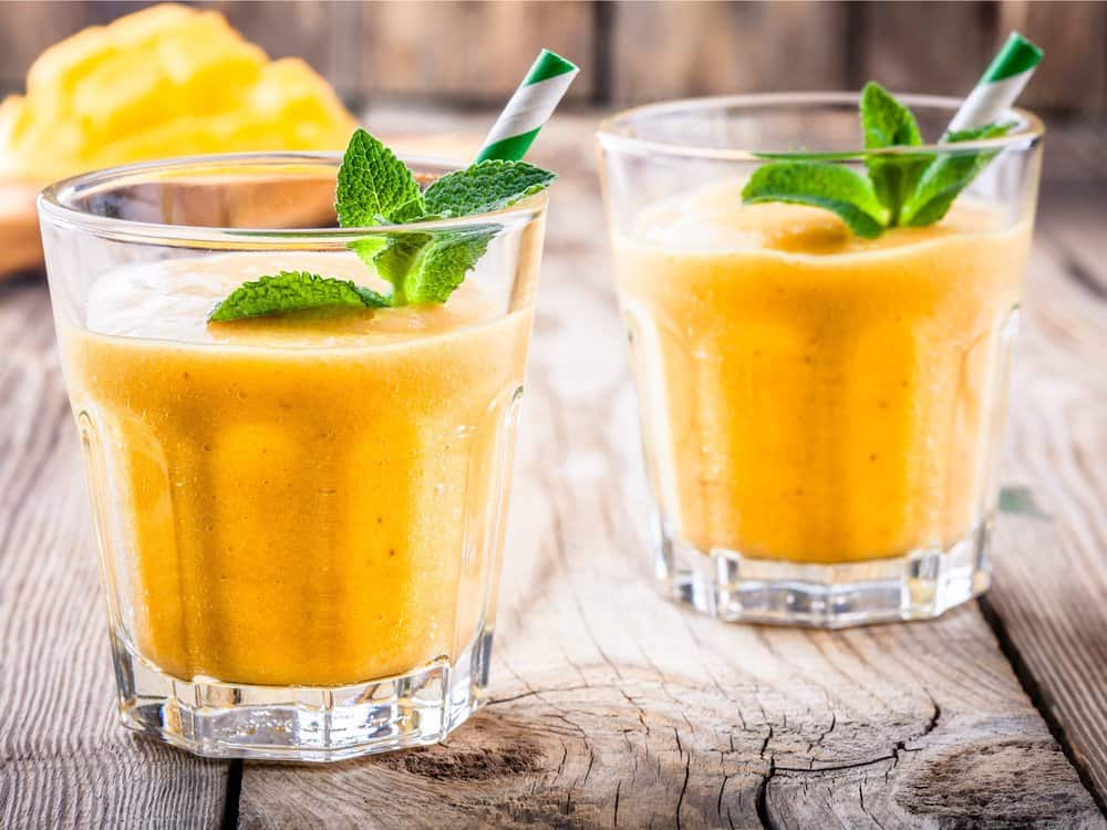 A healthy breakfast fruit smoothie recipe with mango.