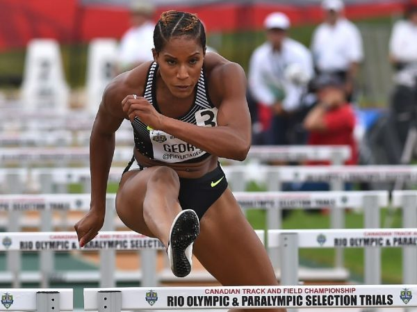 Phylicia George placed first in the Women 100 metre Hurdles Senior final during the Canadian Track & Field Championships and Rio Selection Trials for the 2016 Summer Olympic and Paralympic Games, at Foote Field, in Edmonton Sunday, July 10, 2016. Ed Kaiser/Postmedia (Standalone photo)